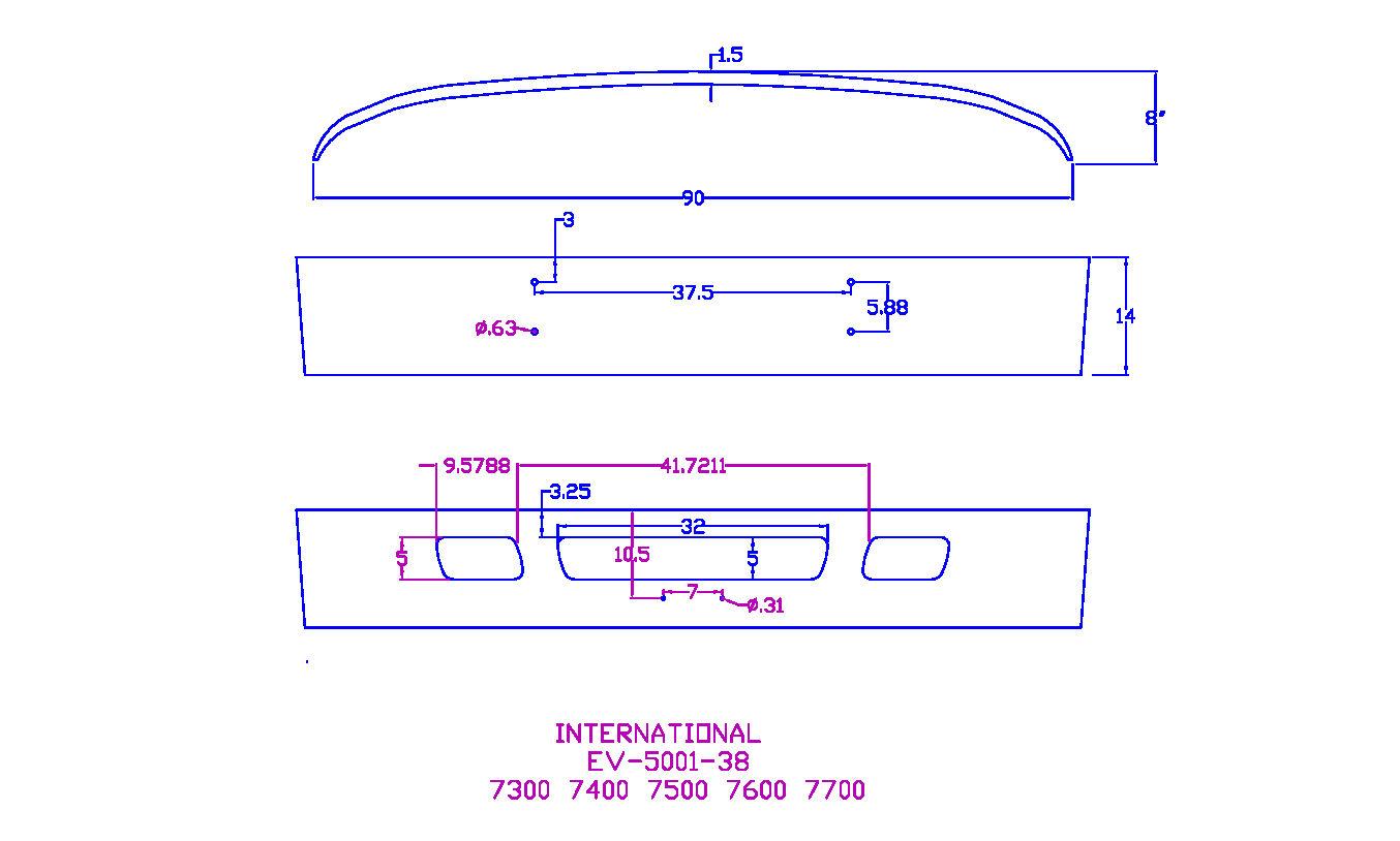 """V-EV-5001-38 Aftermarket, Fits International 7000 Series 14"""" Chrome on"""