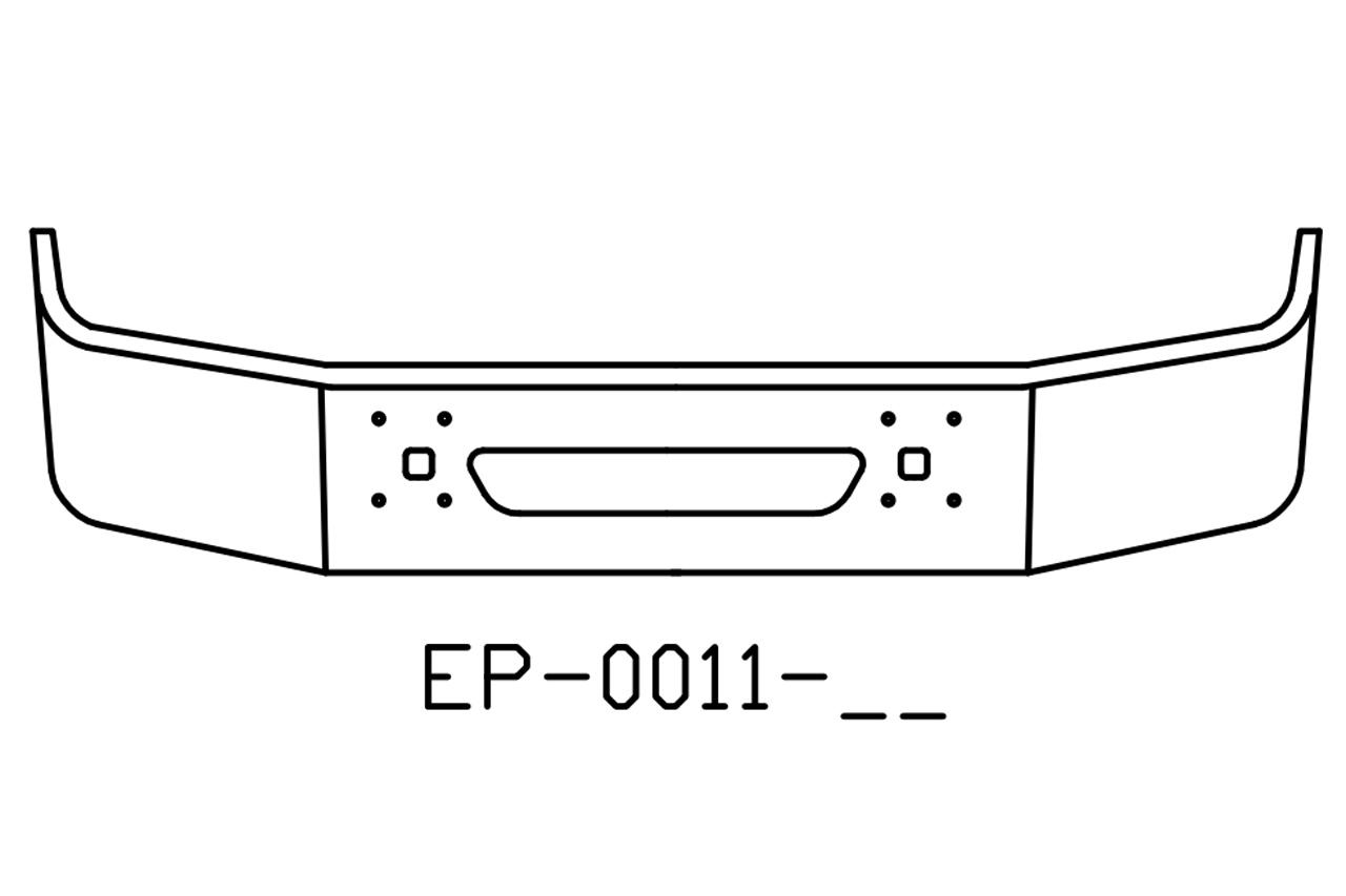EP-0011-15 - 1997 and newer International Navistar 9100, 9200, 9400 series chrome bumper