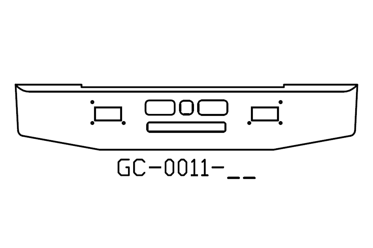 Mack R600, R700 16in bumper with tapered ends - GC-0011-02