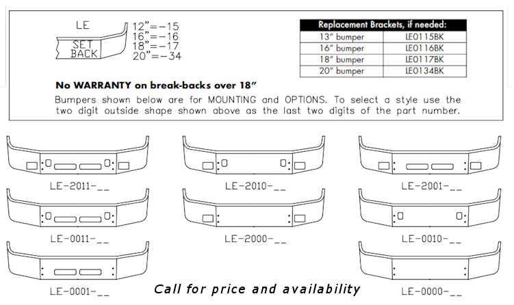 Volvo VNL 42T VNL 64T Bumper Style List