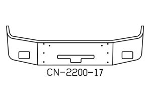freightliner columbia bumper with foglight and center step v-cn-2200-17