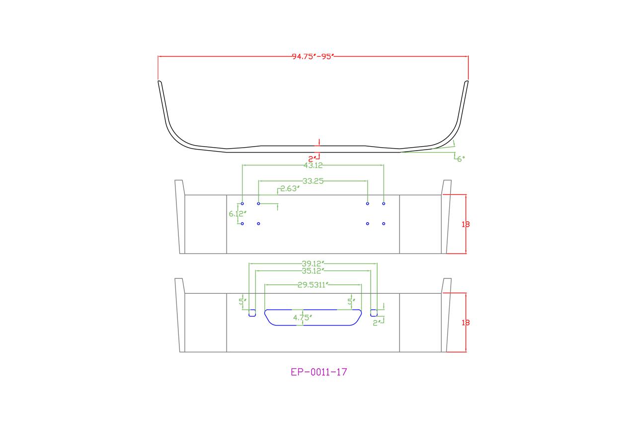 [DIAGRAM_34OR]  160-EP-0011-17 Aftermarket, Fits International 9100, 9200, 9400 Bumper SBA  18